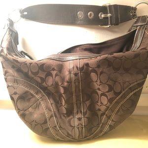 Coach Bags - Coach Brown Signature Canvas Hobo Handbag